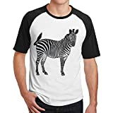 Sakanpo Men Hand-Painted Zebra Raglan Short Sleeve Baseball Tshirt