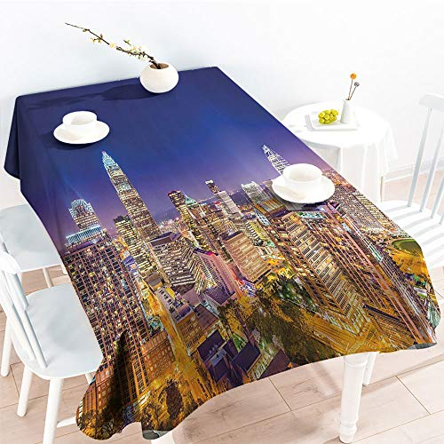 (Jinguizi Rectangular Table Covers Panoramic North Carolina Uptown Sky at Night Cityscape Luminous Town Picturefor Spring/Summer TableclothIndigo Orange(52 by 70 Inch Oblong Rectangular))
