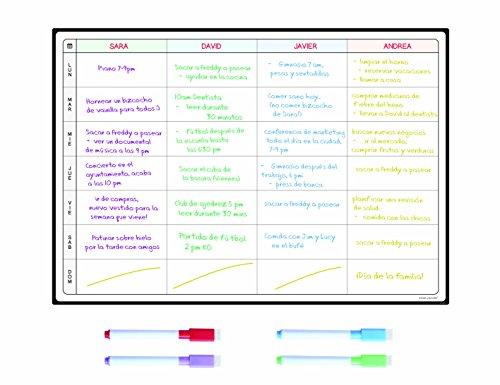Pizarra Planificadora de Comidas y de Planes por SmartPanda - Calendario Magnético Grande Ideal para Planificar Estudios, Tareas o Dietas - Pizarra Blanca ...
