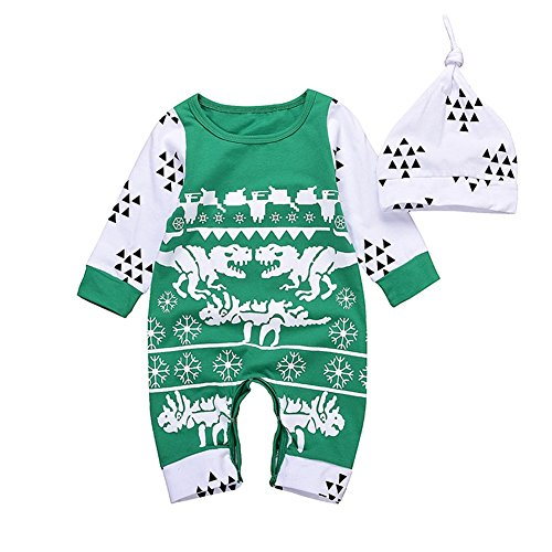 Kingte Newborn Baby Boys Girls Long Sleeve Snowflake Romper Dinosaur Jumpsuit Hat Outfit Set