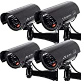 4 Pack Outdoor Waterproof Fake / Dummy Security Camera with Blinking Light (Black) …