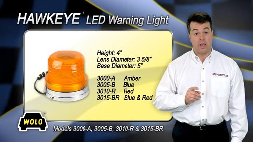 Wolo Magnet Mount Hawkeye LED Rotating And Flashing Emergency Warning Light 3000-A Amber Lens Clear LEDs