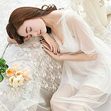 Image Unavailable. Image not available for. Color  Lessonmart Lace  Nightgowns Sleepshirts Sexy Home Dress Solid Nightwear Women Sleepwear Soft  ... d8456ebaa