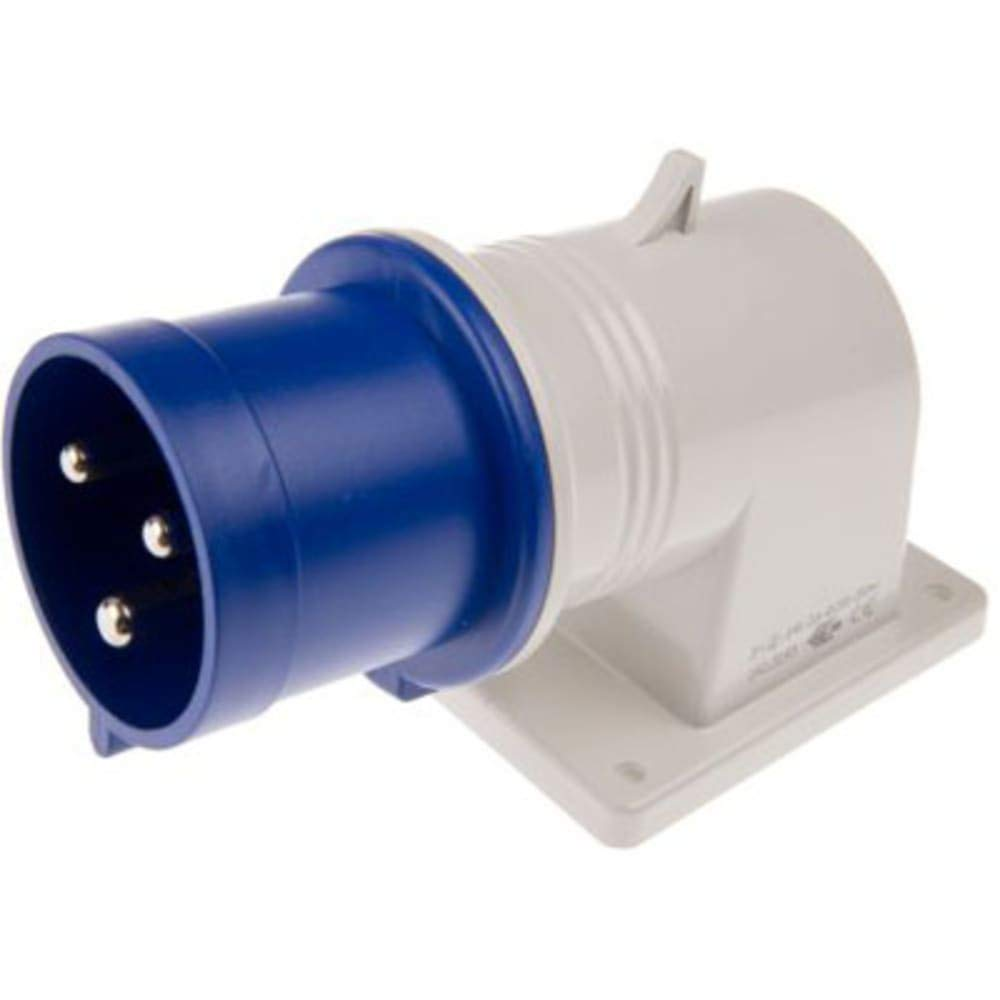 IP44 Blue Male 2P+E Right Angle Ind Pwr Socket Rated at 32A; 200-250 V, Pack of 2