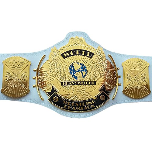 Wwe Us Replica - WWF/WWE Classic Gold Winged Eagle Championship Replica Belt 4mm Thick Plate, White