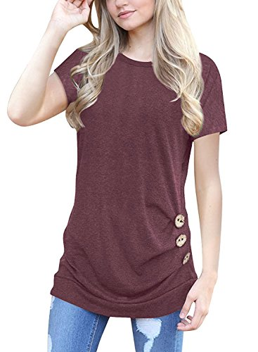 MOLERANI Women Short Sleeve Loose Button Trim Blouse Solid Color Round Neck Tunic T-Shirt Top Wine Red M