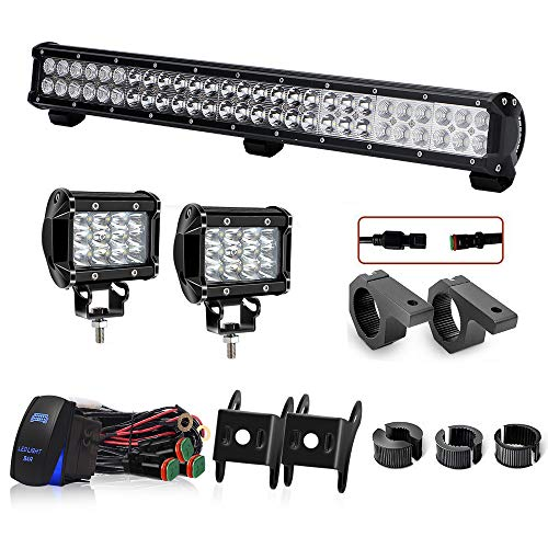 - LED light bar DOT 25In 162W Bumper Grill Offroad LED Light Bar W/Rocker Switch Wiring Harness Tube Clamps + 2PCS 4In 36W Driving Lights For Polaris RZR Truck ATV Jeep Boat Tacoma F150 Golf Cart
