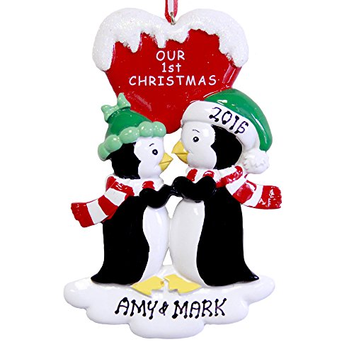 Penguin Couple Our 1st Christmas Personalized Tree Ornament