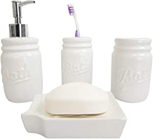 Home Basics Rustic Mason Jar 4 Piece Décor Bathroom Accessories Set, includes Lotion Pump Dispenser, Toothbrush Holder, Cup Tumbler, and Soap Dish , White