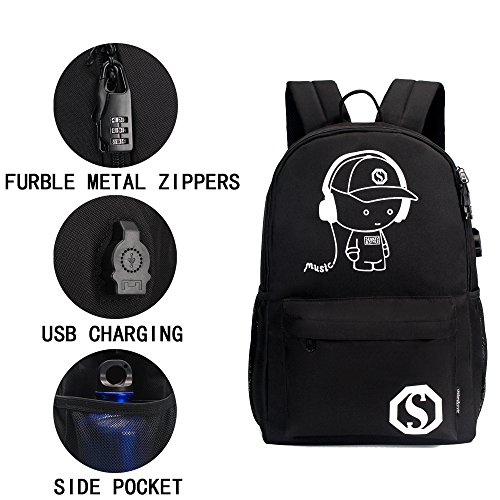 GAOAG Anime Luminous Backpack Daypack Shoulder Under 15.6-inch with USB Charging Port and Lock School Bag Black by GAOAG (Image #4)