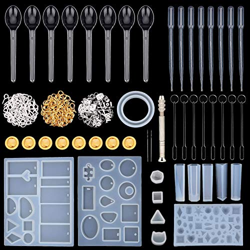 Resin Casting Molds and Tools Set, Include Assorted Styles Silicone Molds, Stirrers, Droppers, Spoons, Hand Twist Drill and Screw Eye Pins for Pendant Jewelry Making, 240 Pieces Totally