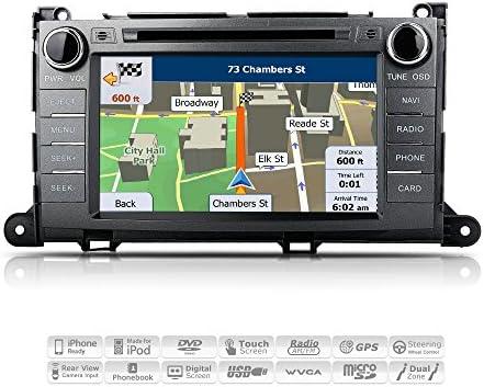 AIMTOM AMN-1906-MB 2011-2014 Toyota Sienna In-dash GPS Navigation Stereo FM AM Radio Bluetooth DVD CD Deck 8 Touch Screen Head Unit AV Receiver USB SD Multimedia Player w Copyrighted iGo Primo Maps