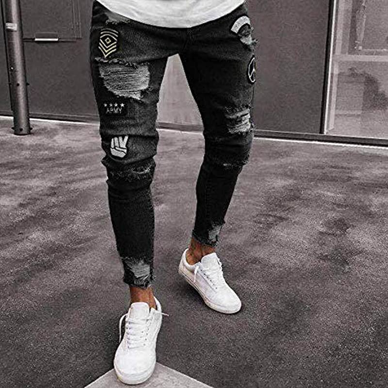 Emmay 2020 Mens Skinny Stretch Pants Wesentlich Distressed Denim Ripped Freyed Ausgefranste Slim Fit Jeans Męskie Zerrissene Hose (Color : Schwarz01, Einheitsgröße : XXL): Odzież