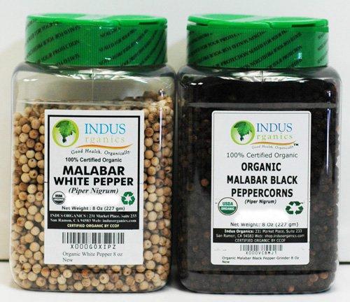 (Indus Organics Malabar Black & White Peppercorns, 8 Oz Jar, Premium Grade, High Purity, Freshly Packed)