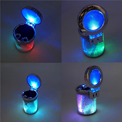 HengJia Auto Parts Car Cigarette Ashtray Portable Auto Vehicle Wit Color LED Light Car Cup Holder