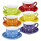 Klikel Coffee Mug And Saucer Set – 12 Piece Porcelain Dinnerware - Solid Colors With White Polka Dots – 5.5 Plates And 7.5oz Cups – Microwave And Dishwasher Safe