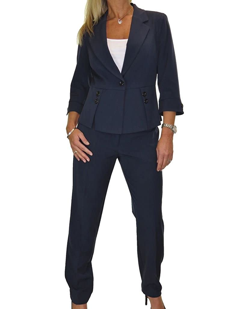 Navy bluee ICE Fully Lined Washable Designer Look Business Office Trousers Suit 416