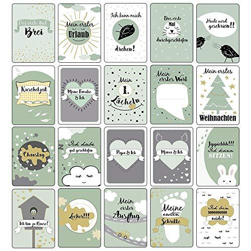 geschlechtsneutral Geschenkbox Ideen mit Herz Meilensteinkarten Baby inkl f/ür Junge /& M/ädche mint 10,5 cm x 14,8 40 St/ück lustige Designs