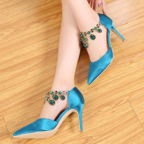 Abby Womens Unique Sexy Wedding Party Dress Casual Bride Shallow Mouth Pointed Toe Slip On Heeled Pumps Green qMfoMp2