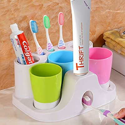 Netspower Automatic Toothpaste Squeezer, Hands Free Toothpaste Dispenser, Toothbrush Toothpaste Holder and Mug Stand Organizer Set with 3 Cups