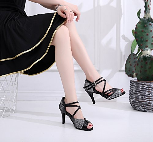 Minitoo Ladies Fashion Strappy Synthetic High Heel Latin Dance Shoes Wedding Sandals Black-8.5 Cm Heel ltlAhEVY2