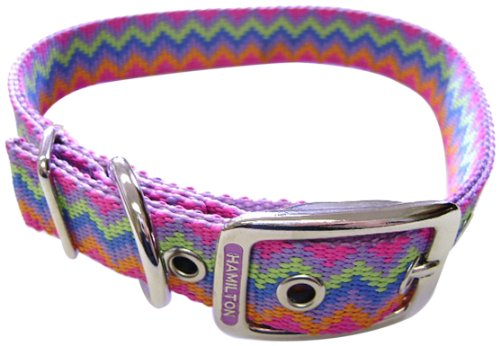 Hamilton Double Thick Nylon Deluxe Dog Collar, 1 by 22-Inch, Lavender -