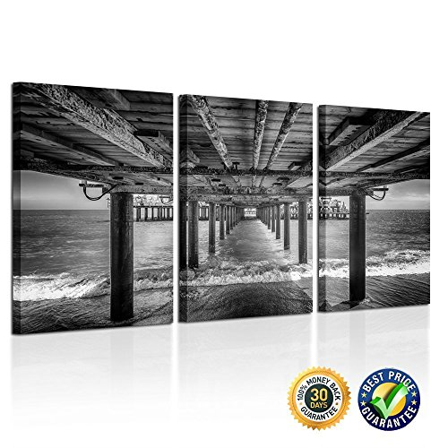 Kreative Arts - UNDER THE PIER Premium Canvas Art Print Black and White Large Seascape Wall Art Deco Canvas Picture Stretched on Wooden Frame as Modern Gallery Artwork Ready to Hang (And Canvas White Black Large Art)