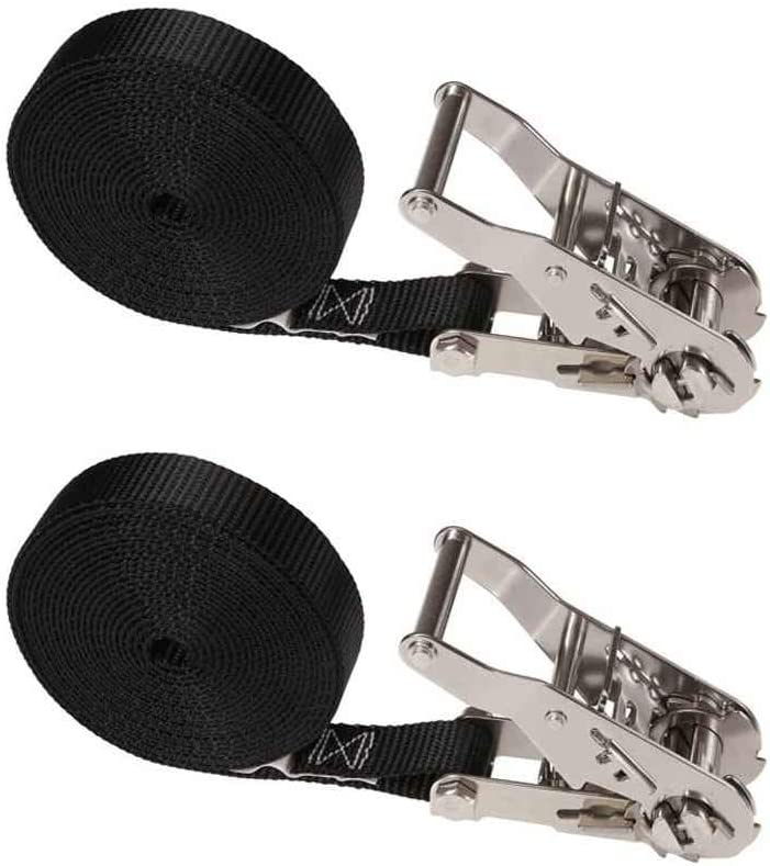 US Cargo Control 1 Inch x 15 Foot Black Stainless Steel Endless Ratchet Strap 2 Pack