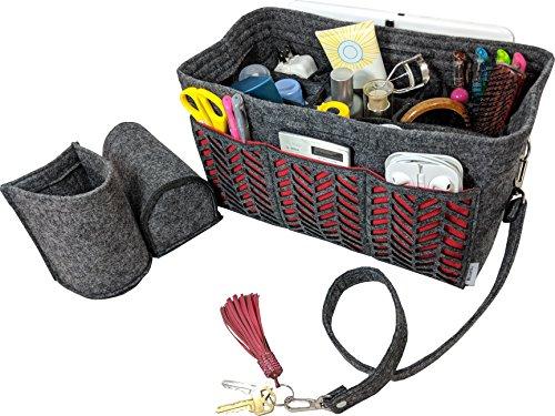 BELIANTO Felt Purse Organizer Insert Bag Organizer Handbag Organizer comes with Middle Insert, Bottle Holders, Key Finder, D rings (Herringbone Pattern) (Medium, Dark Grey) Middle Insert