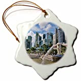 3dRose orn_71147_1 City Skyline, Fullerton, Clarke Quay, Singapore-AS32 BBA0041-Bill Bachmann-Snowflake Ornament, Porcelain, 3-Inch