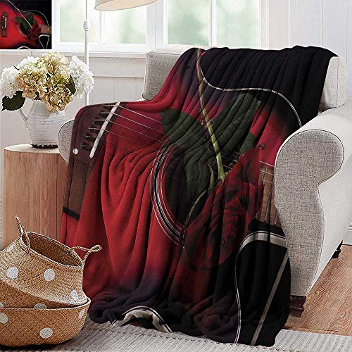 XavieraDoherty Cool Blanket,Red and Black,Spanish Musician Portugal Hand Made Guitar with Romance Theme Love Rose,Ruby and White,for Bed & Couch Sofa Easy Care 30