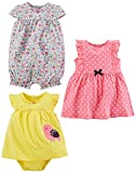 Simple Joys by Carter's Baby Girls' 3-Pack Romper, Sunsuit and Dress, Pink Dot/Floral/Yellow Bird, 18 Months