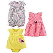 Simple Joys by Carter's Baby Girls' 3-Pack Romper, Sunsuit and Dress, Pink Dot/Floral/Yellow Bird, 6-9 Months