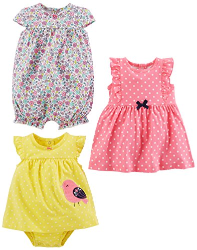 Simple Joys by Carter's Baby Girls' 3-Pack Romper, Sunsuit and Dress, Pink Dot/Floral/Yellow Bird, 12 Months