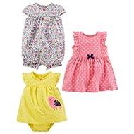 Girls' 3-Pack Romper, Sunsuit and Dress