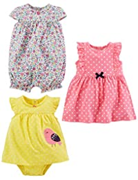 Simple Joys by Carter's baby-girls 3-pack Romper, Sunsuit and Dress Romper