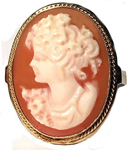 Cameo Ring Carnelian Shell Master Carved Sterling Silver 18k Gold Overlay Size 8.25 Italian (Italian Ring 18k)