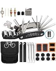 Veaoiy Fiets Reparatie Tool Kit Punctie Kits voor Fietsen Mountainbike Accessoires voor Mannen 16 in 1 Multifunctionele Tool Set Bandenhefbomen Fiets Mountainbike Racefiets met Patch Kit