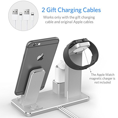 YoFeW Charging Stand for Apple Watch Aluminum Watch Charging Stand Dock  Holder for iWatch Apple Watch Series 32 1 AirPodsiPhone X 8 8Plus 77 Plus  6S