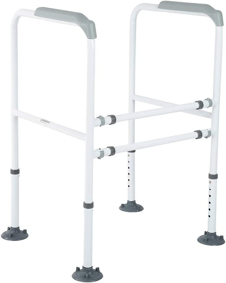 AXD Toilet Safety Support Rails, Adjustable High Stability Easy-Installation Anti-Slip Handrail Frame Safety Rails for Toilet Bathroom Closestool Seat Ideal Stadning Support for The Elderly Disabled