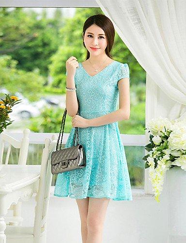 PU&PU Robe Aux femmes Mousseline de Soie Simple,Couleur Pleine Col en V Mini Polyester , blue-2xl , blue-2xl