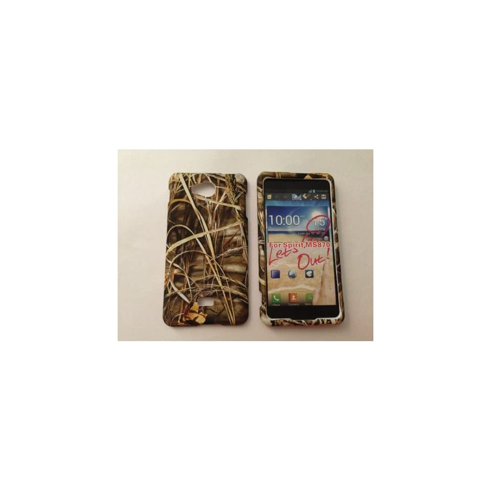 ADV CAMO REALTREE CAMOUFLAGE HUNTER DRY GRASS FOR LG SPIRIT 4G MS870 MS 870 METRO PCS RUBBERIZED HARD PROTECTOR COVER CASE / SNAP ON PERFECT FIT CASE