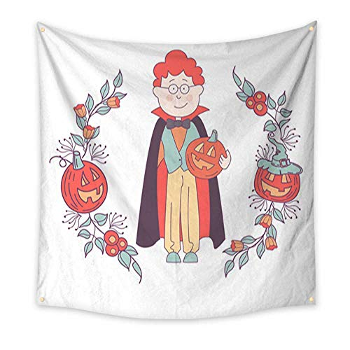 Apartment Decor Tapestry Happy Halloween Vector Illustration Hand Drawn Greeting Card Invitation for a Halloween Party Living Room Bedroom Dorm Decor 47W x 47L Inch -