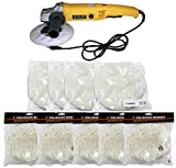 7'' Variable 6 Speed Electric Car Polisher Buffer w/ 10pc Soft Bonnets