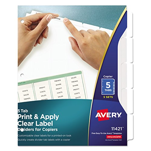 Avery Index Maker White Dividers, 5-Tab, 8.5 x 11 Inches, Clear, 5 Sets (11421) Avery Index Maker White Dividers
