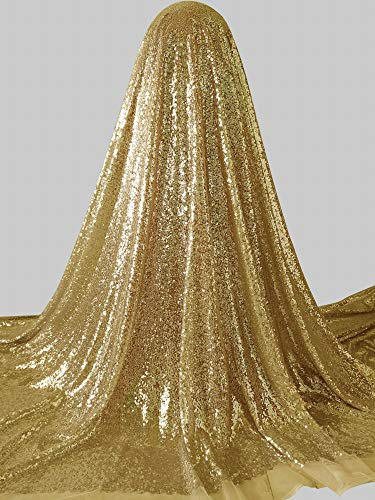 Gold Sequin Fabric 5 Yards - Add 50cm for Each 5 Yards - Every Order 5 Yards Will Have Total Length is 500cm. Weight is 48