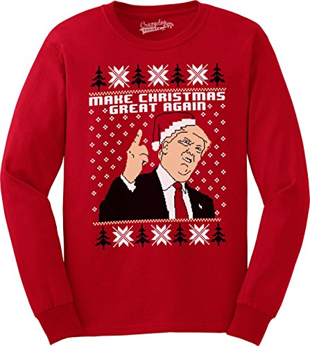 Crazy Dog Tshirts Make Christmas Great Again Funny Ugly Christmas Unisex Crew Neck Sweatshirt (Red) XL Cool Christmas Sweaters