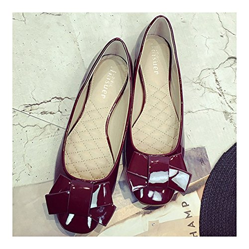 Square within wine Increased Shoes red Thin 37 Bowknot Flat SSAEwrq