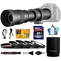 Opteka 420-1600mm f/8.3 HD Telephoto Zoom Lens Bundle Package includes 2X Teleconverter + 8GB Memory Card + 5 Piece UV-CPL-FL-Macro 10x-ND4 Filters + Snap On Lens Cap with Cap Keeper + Lens Pen + Air Dust Blower for Digital Photo Prints + Cleaning Kit for Olympus OM-D OMD E-M1, E-M10, E-M5, EM1, EM10, EM5, PEN E-P1, E-P2, E-P3, E-P5, E-PL1, E-PL1s, E-PL2, E-PL3, E-PL5, E-PL6, E-PL7, E-PM1, E-PM2, EP1, EP2, EP3, EP5, EPL1, EPL1s, EPL2, EPL3, EPL5, EPL6, EPL7, EPM1, EPM2 DSLR SLR Digital Camera