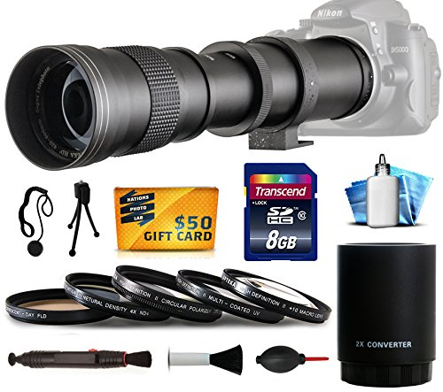 Price comparison product image Opteka 420-1600mm f / 8.3 HD Telephoto Zoom Lens Bundle Package includes 2X Teleconverter + 8GB Memory Card + 5 Piece UV-CPL-FL-Macro 10x-ND4 Filters + Snap On Lens Cap with Cap Keeper + Lens Pen + Air Dust Blower for Digital Photo Prints + Cleaning Kit for Canon EOS 6D,  7D Mark 2,  60D,  60Da,  70D,  100D,  550D,  600D,  650D,  700D,  1100D,  1200D,  Rebel SL1,  T2i,  T3,  T3i,  T4i,  T5,  T5i,  Kiss X4,  X5,  X6i,  X7i,  X50,  X70 DSLR SLR Digital Camera